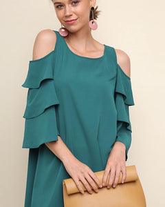 Cold shoulder dress with ruffle sleeves