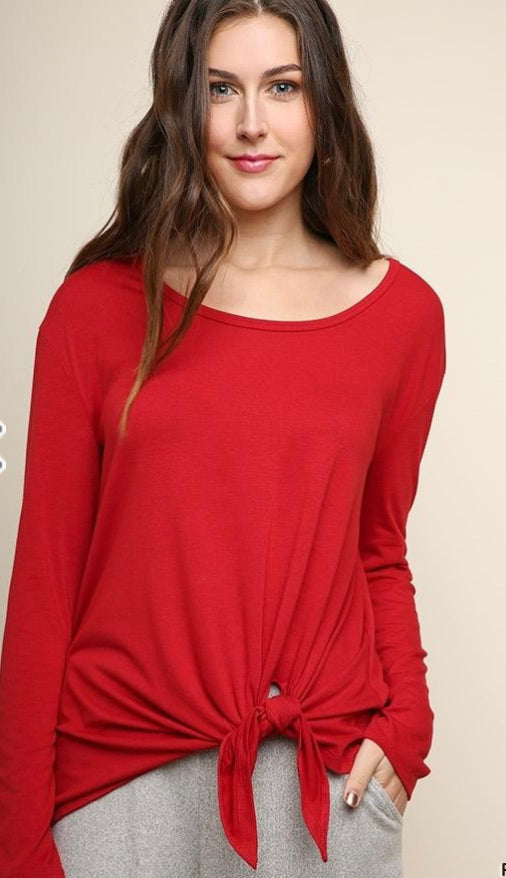 Long Sleeve Scoop Neck top with waist tie