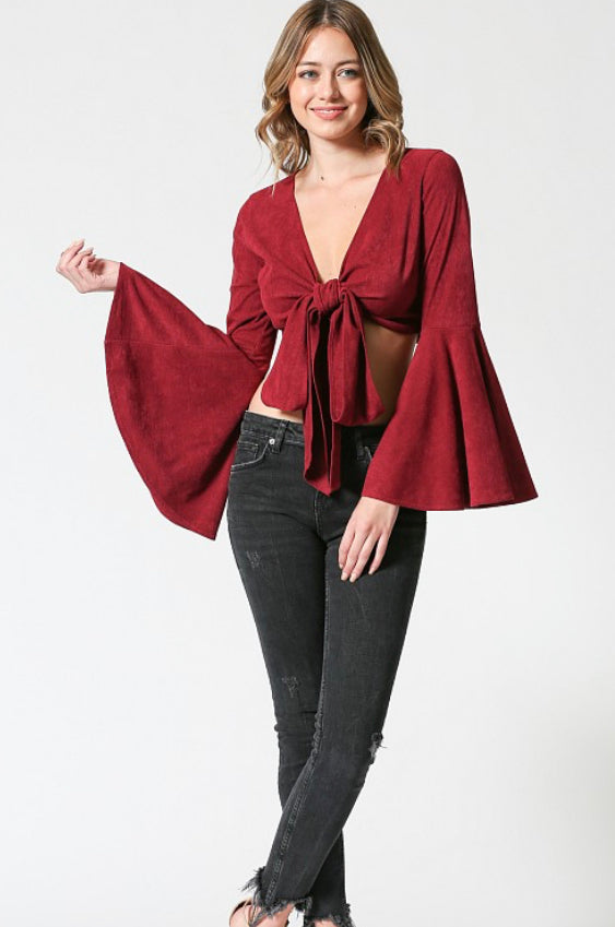 Corduroy Bell Sleeve Crop Top in Burgundy