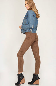 Faux Suede Leggings with Side Zipper