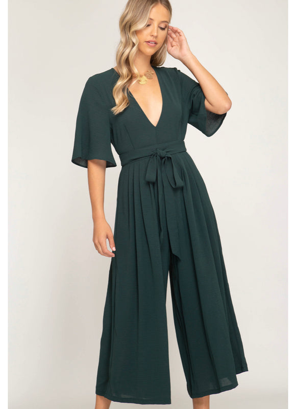 Half Sleeve Wide Culotte Jumpsuit with open back and waist tie