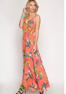 Tropical Floral Maxi in Coral