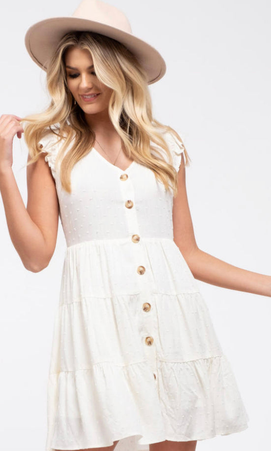 Swiss dot tiered dress in off white