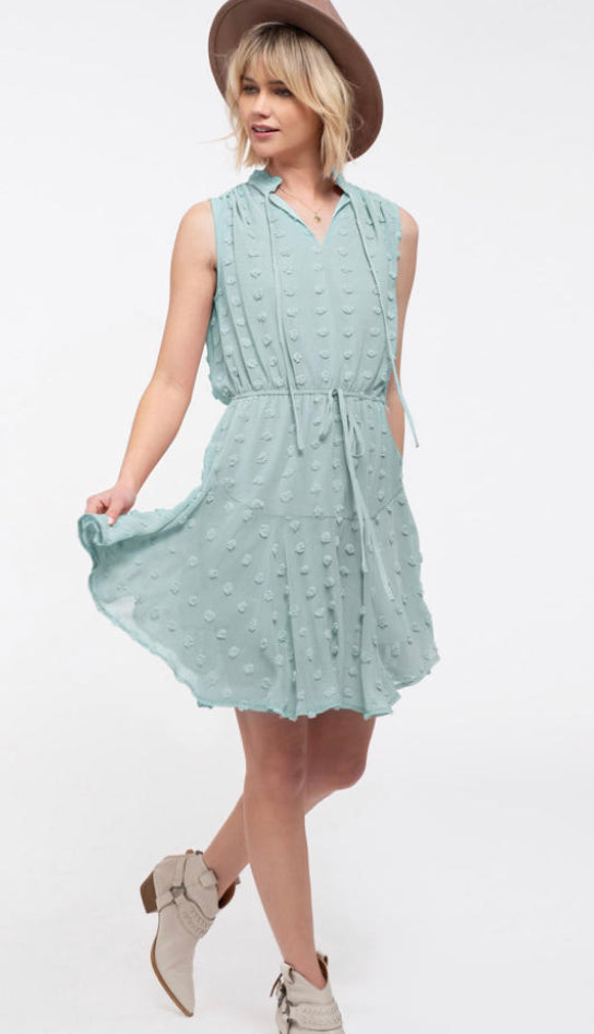 Pom Pom Dress Swing Dress- Sage