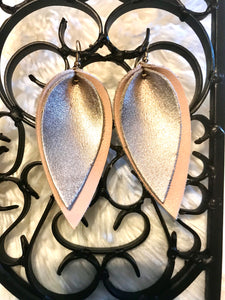 Rosegold Genuine Leather Layered Pointed Tear Drop Earring 3.5""