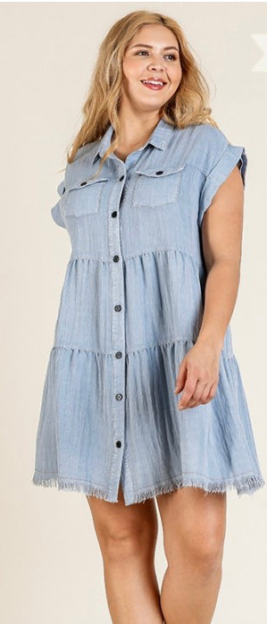 Light Denim - frayed hem button up dress- PLUS SIZES
