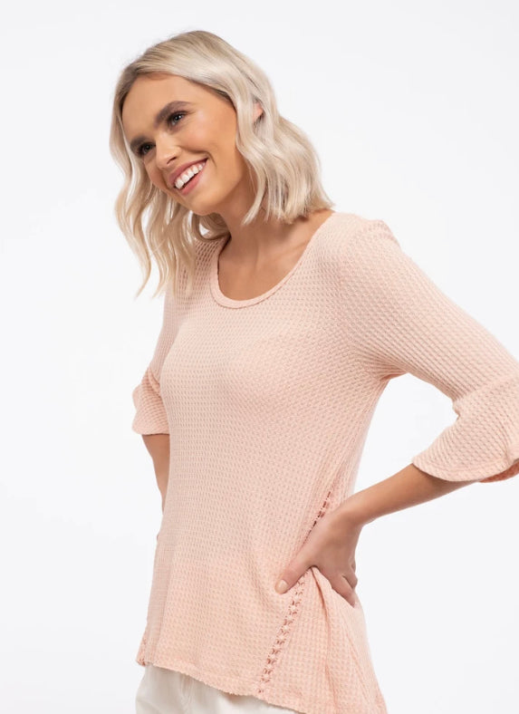 3/4 length sleeve peach blouse with side crochet detail