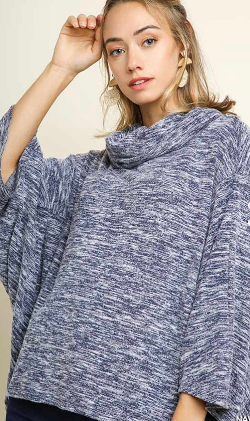 Heathered Knit Dolman Sleeve Cowl Neck Top
