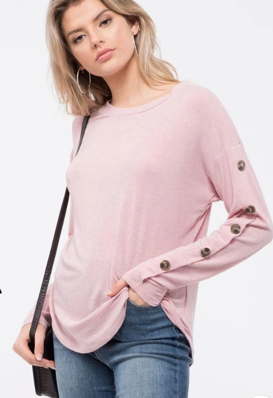 Drop shoulder Hacci top with button sleeve details- Mauve