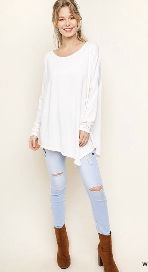Asymmetrical trim white long sleeve top