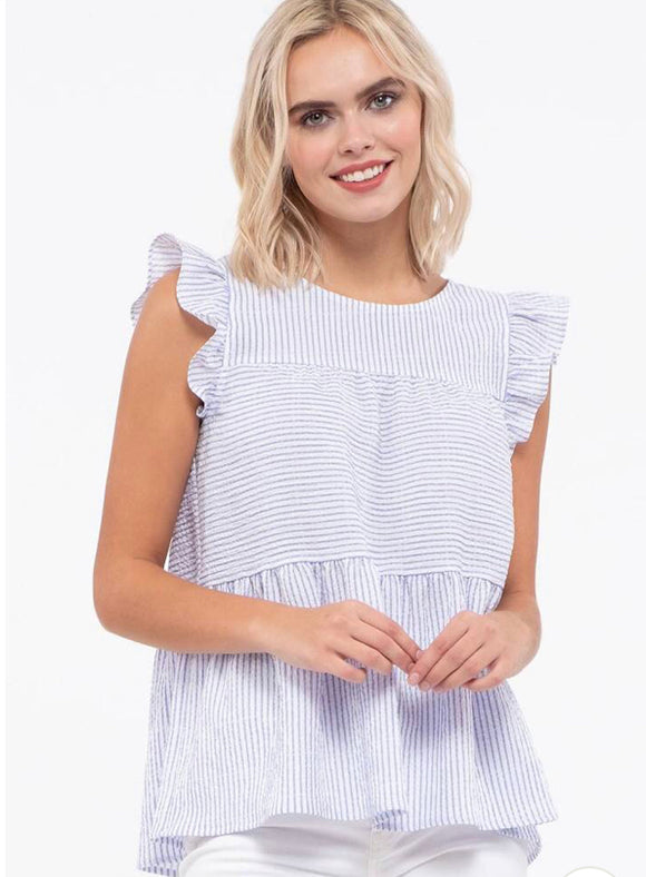 Flutter cap sleeves blue white