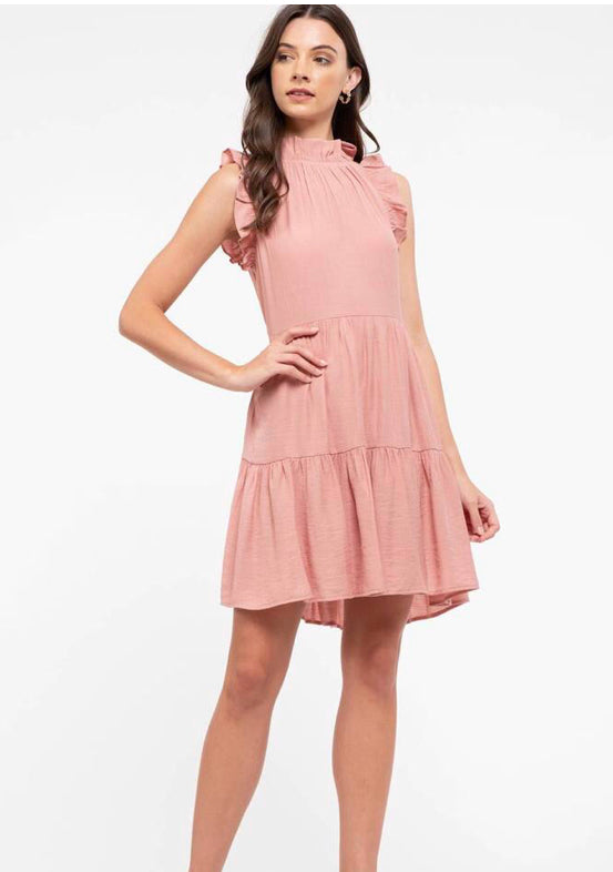 High Neck ruffle sleeve back tie neck in Blush
