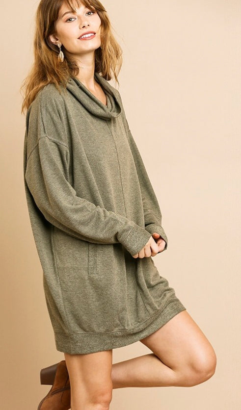 Long Sleeve Cowl Neck Dress with pockets