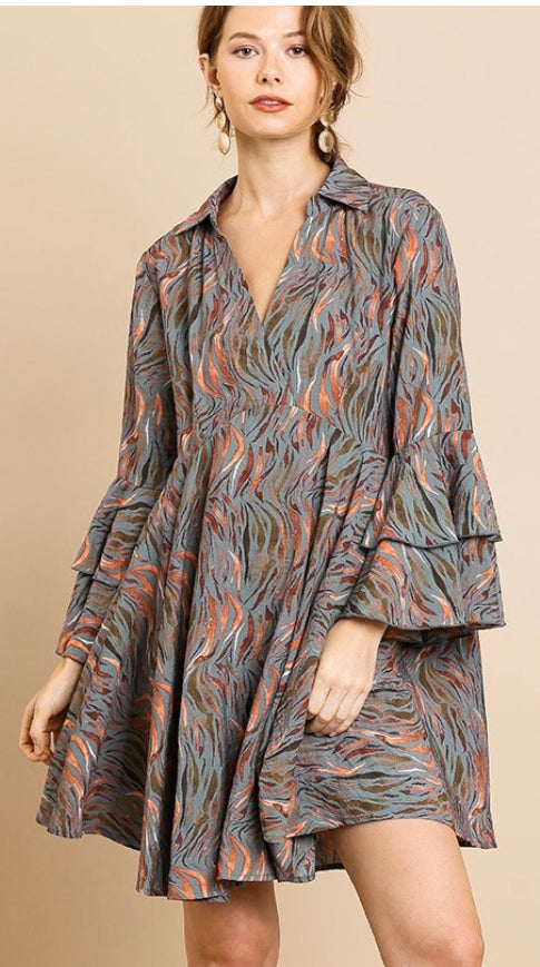 Printed Ruffle Bell Sleeve Collared V-Neck Dress