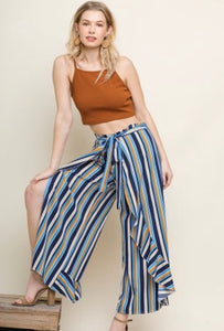 Super fun blue multi stripe culottes