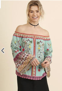 Off Shoulder Floral Print Top with Bell Sleeves and Drawstring