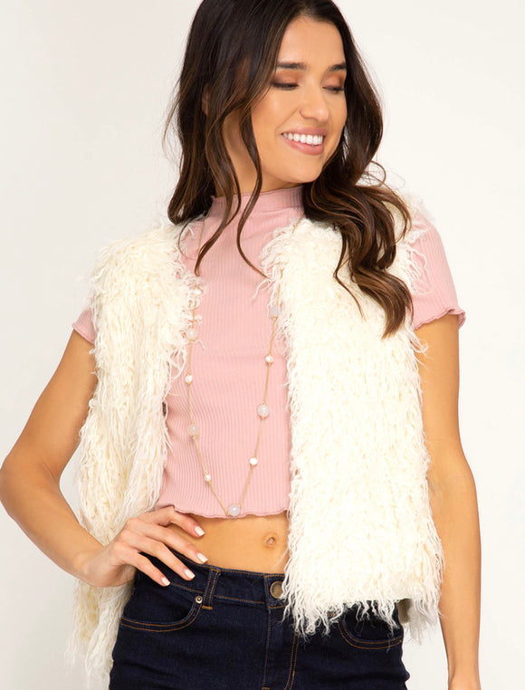 Oh so furry vest faux fur short vest