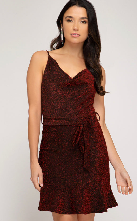 The perfect sparkly red holiday dress- Cowl neck lurex cami dress with waist tie