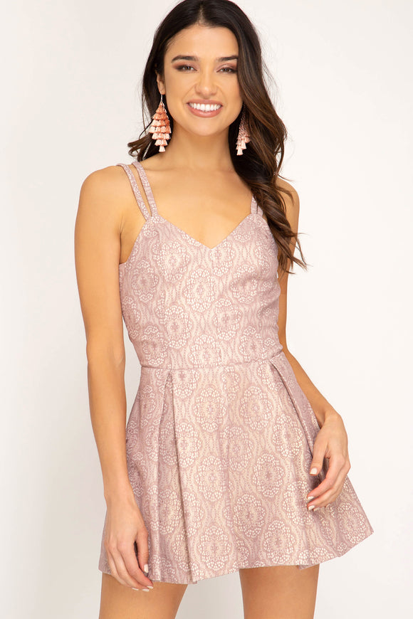 Mauve Sleeveless romper with scrappy back detail