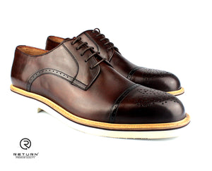 RJ 41605 | Brown Derby Cap Toe Medallion
