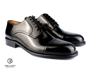 RJ 41605 | Black Derby Cap Toe Medallion