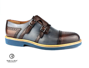 RJ 41607 | Brown & Navy Monk Strap