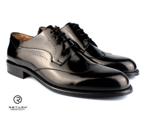 RJ 41613 | Black Derby Wingtip Polished