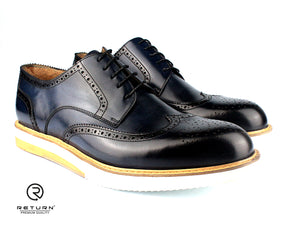 RJ 41620 | Dark Blue Derby Wingtip Medallion