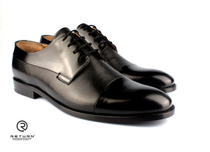 RJ 49210 | Black Derby Cap Toe Partway Grained