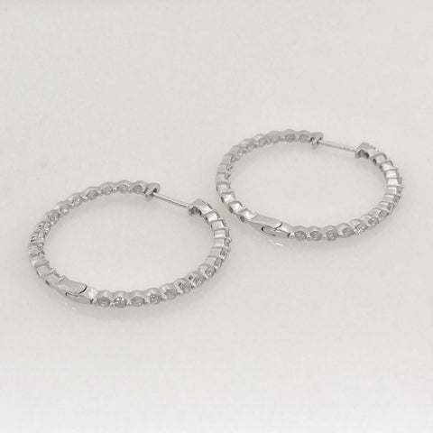 14K White Gold Round Hoop Full Diamond Earrings