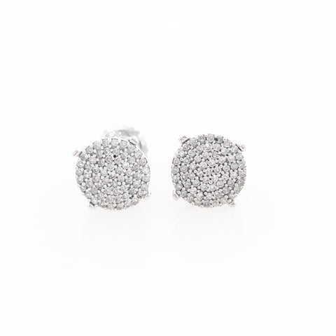 10K White Gold Round Pave Cluster Diamond Earrings with 1-Carat Diamond