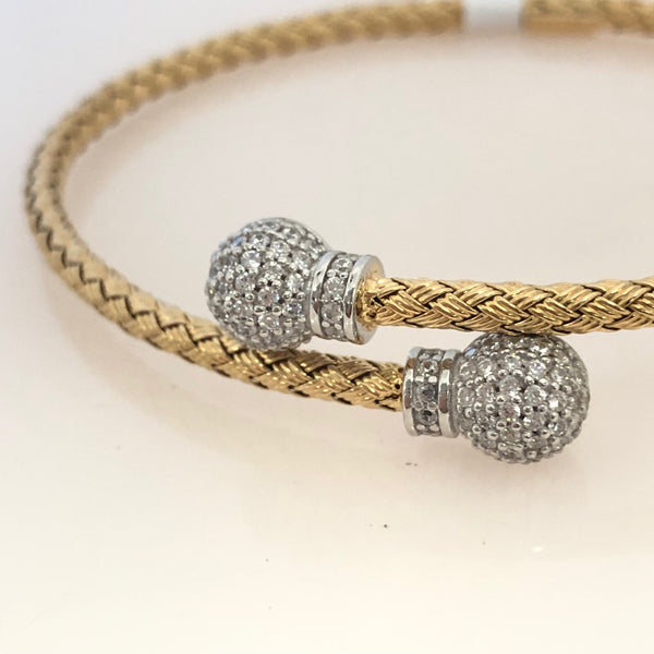 Sterling Silver Weaving Style Oval Bangle With CZ Balls And Gold Plate