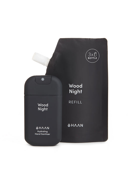 Haan Hand Sanitizer - Wood Night (Pocket, Refill Pouch & Lanyard)