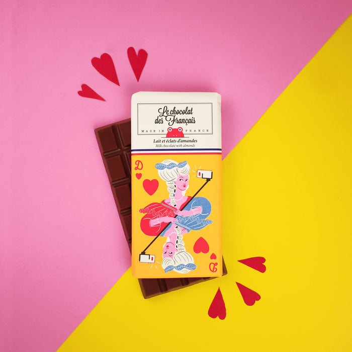 Le chocolat des Francais - Organic Milk Chocolate with almonds 80g Bar - 41% Cocoa