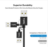 TOPK Magnetic Micro USB Cable LED Indicator 2.4A Fast Charging Upgraded Nylon Braided USB Charger Cable