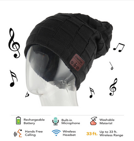 Warm Bluetooth Knitted Winter Beanie Hats with Bluetooth 4.0 Speaker. Sports/Womens/Mens Bluetooth Headset for Christmas