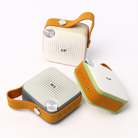 Mini Bluetooth Speaker Leather Strap Wireless Original Audio Waterproof FM Radio Bluetooth 4.0 Rechargeable Battery Microphone