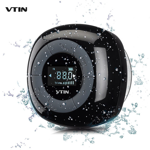 VTIN Portable Mini Speaker IPX4 Waterproof Bluetooth Speaker FM Radio Digital Tuner LCD Display Loudspeakers Music Sound Box