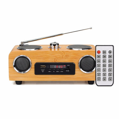 Handmade Bamboo Stereo Multimedia Speaker Classical Radio with MP3 Player Remote Control Y4113O