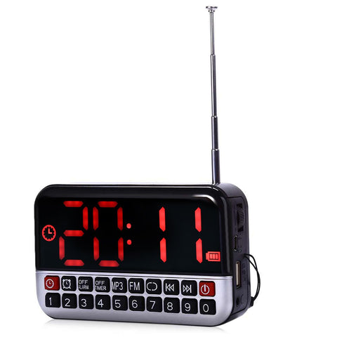 L-80 HD LCD Screen Portable Multi-functional Loudspeaker Digital LED Alarm Clock FM Radio TF/Micro SD Card MP3 Music Speaker
