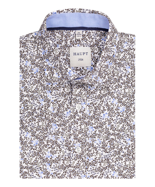 Olive/Tabacco/Blue Small Leaf Pattern Sport Shirt