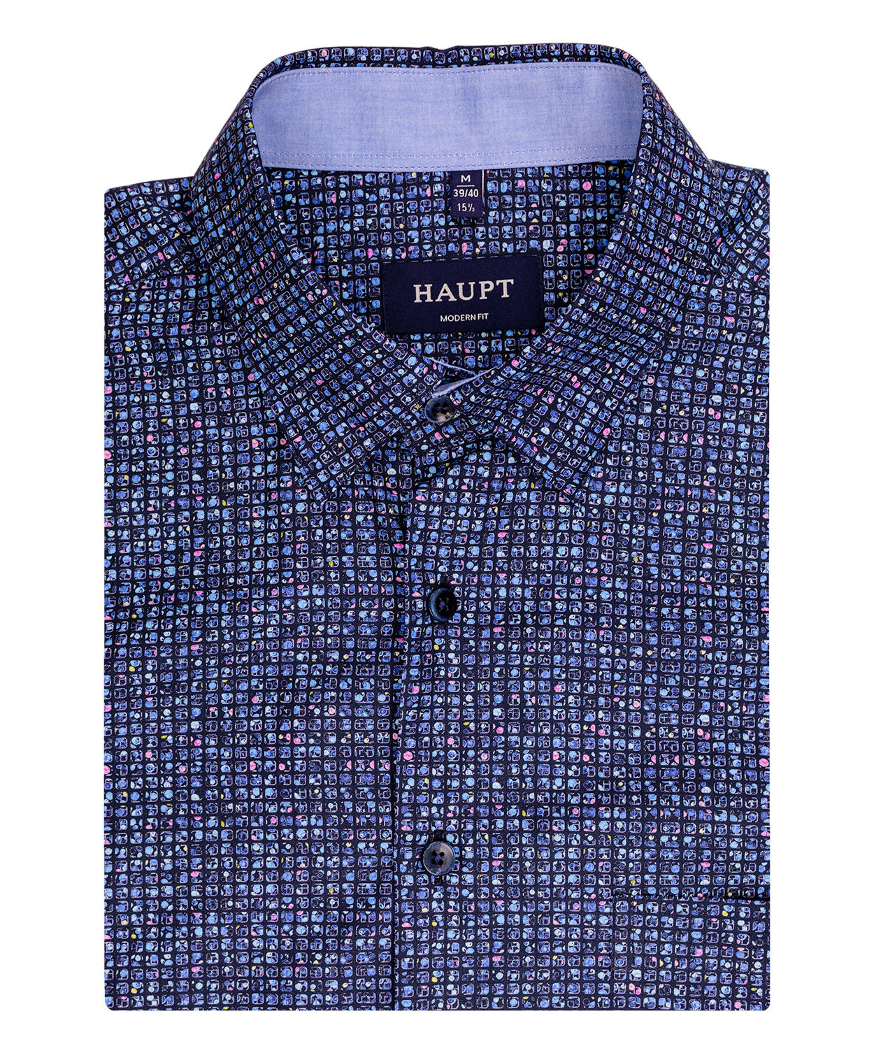 Navy/Pink/Blue Dot Square Pattern Sport Shirt
