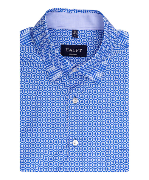 Blue Small Circle Pattern Sport Shirt