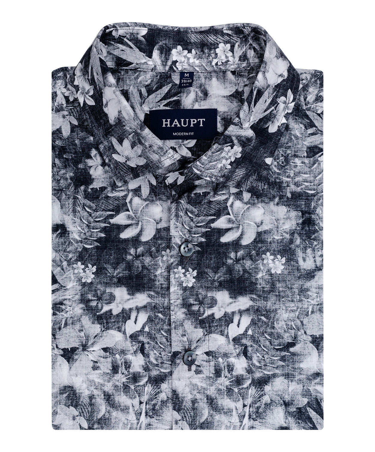Black/Grey/White Large Floral Pattern Sport Shirt