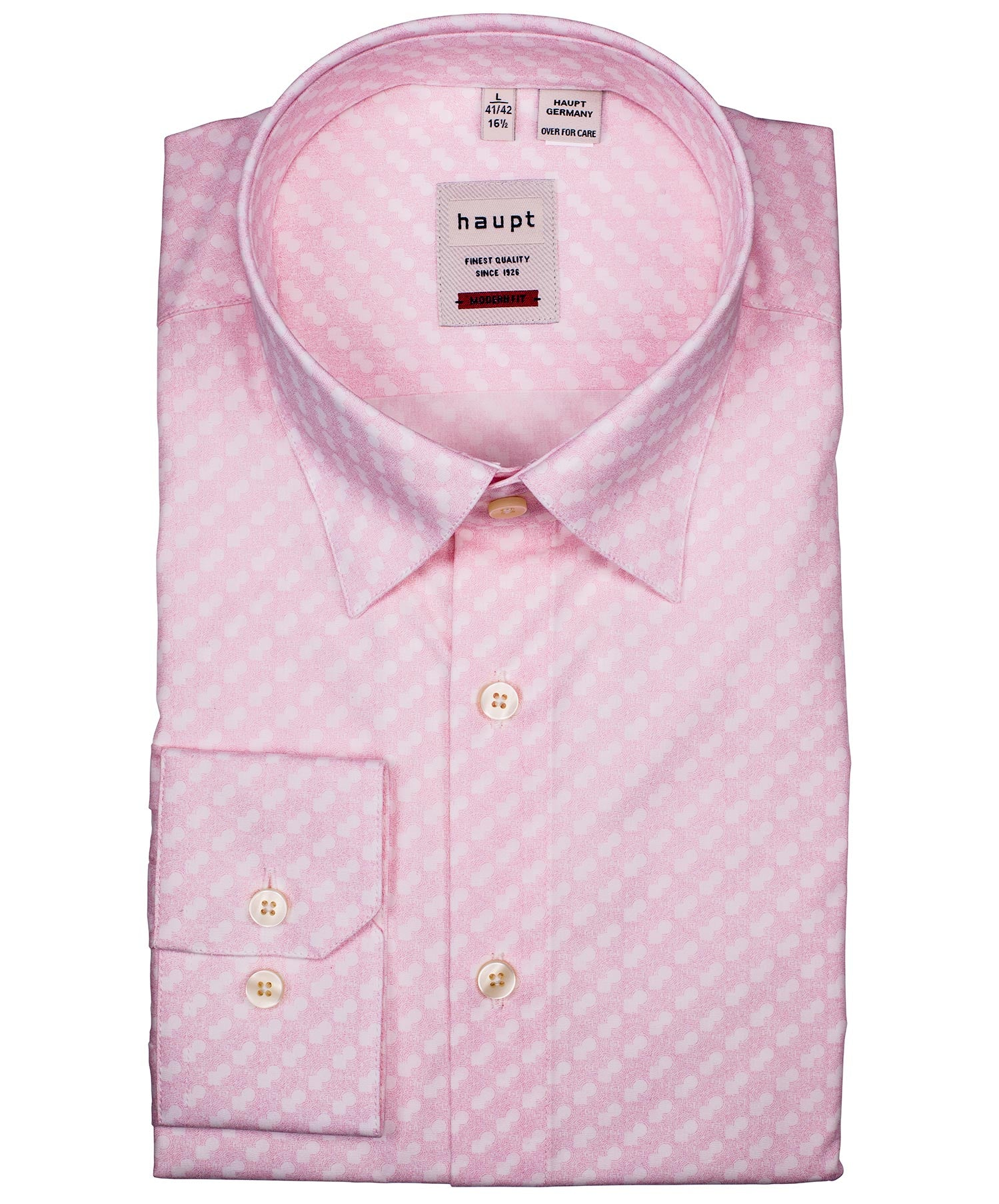 Pink/White Square/Circle Ripple Effect Print Modern Fit Sport Shirt