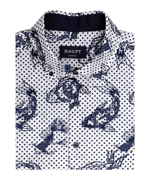 White/Navy Dotted Koy Fish Pattern Sport Shirt