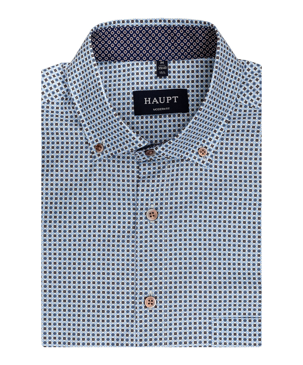 Tabacco/Navy/White Square/Diamond Pattern Sport Shirt