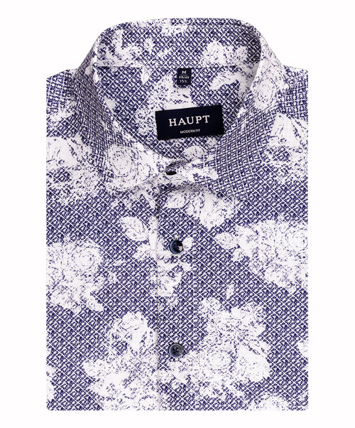 Navy/White Rose Pattern Short Sleeve Sport Shirt