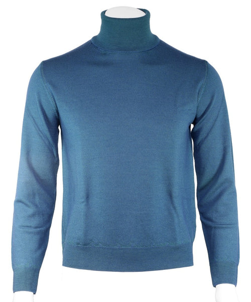 Cerulean Blue Solid Turtle Neck Sweater