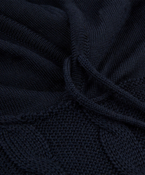 Navy Cable Knit Hoody Sweater